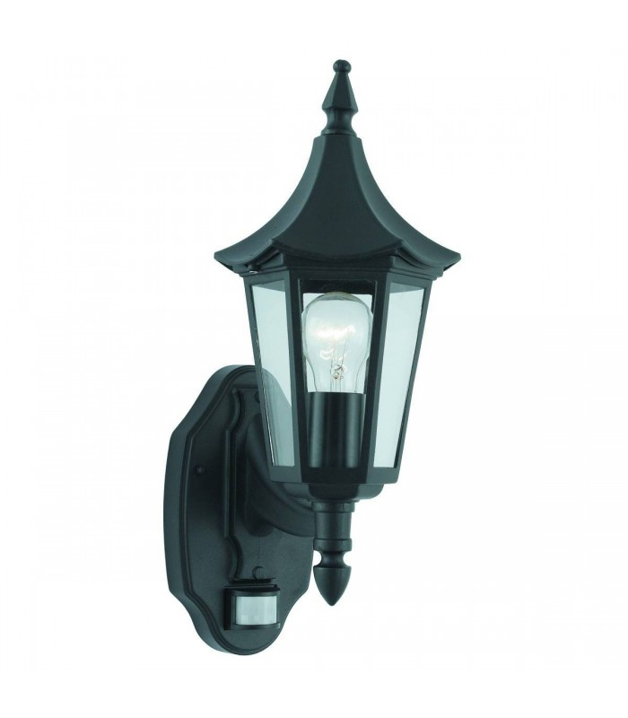 Bel Aire Black Outdoor Garden Wall Light with Motion Sensor - Searchlight 14715