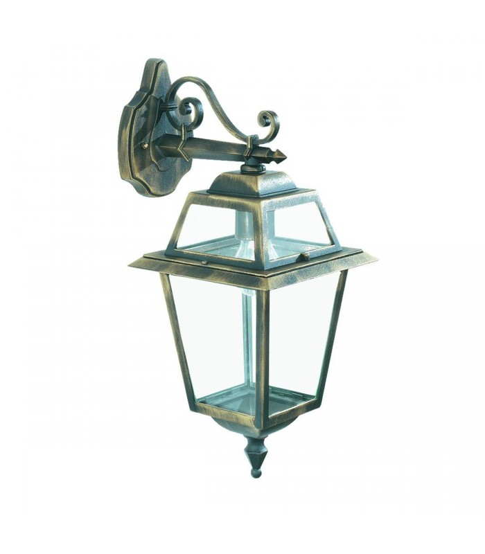 New Orleans Black & Gold Outdoor Garden Wall Downlight - Searchlight 1522