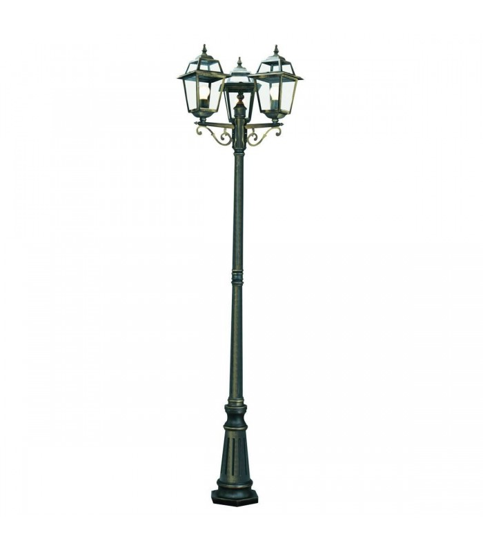 New Orleans Black & Gold 3 Light Outdoor Post Lamp - Searchlight 1528-3