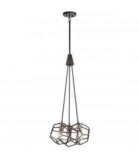 3 Light Cluster Pendant Cage Light Steel, E27