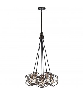 6 Light Chandelier Cluster Cage Ceiling Pendant Steel