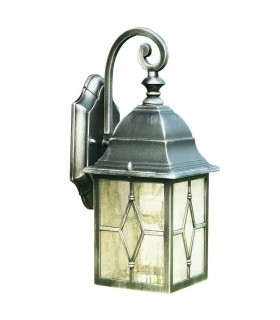 1 Light Outdoor Garden Wall Lantern Black Silver with Lead Glass