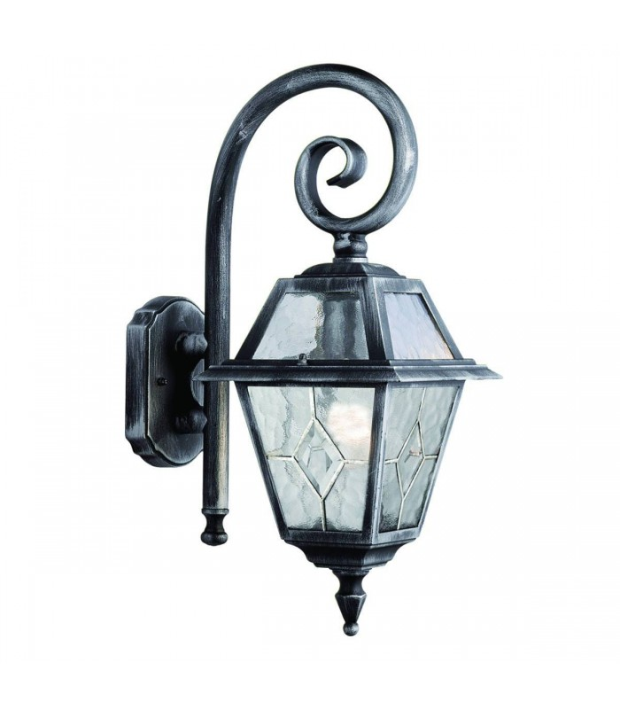 1 Light Outdoor Lantern Silver, Black with Lead Glass