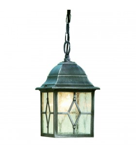 Genoa Black & Silver Outdoor Ceiling Porch Light Pendant - Searchlight 1641
