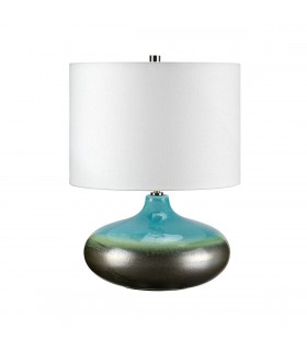 1 Light Small Table Lamp Graphite, Turquoise, E27