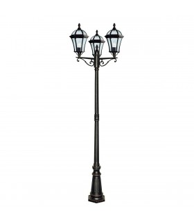 Capri Rustic Brown 3 Light Outdoor Lamp Post - Searchlight 1569-3