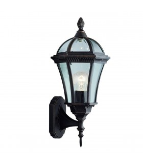 Capri Rustic Brown Outdoor Garden Wall Uplighter - Searchlight 1565