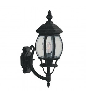 Bel Aire Black Curved Outdoor Garden Wall Uplight - Searchlight 7144-1
