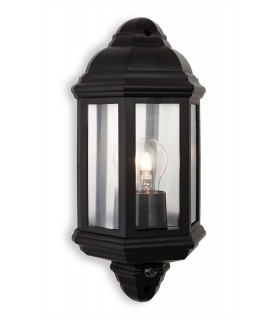 1 Light Outdoor Wall Lantern With Pir Black Polycarbonate IP44