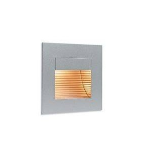 1 Light Indoor Recessed Wall & Step Light Satin Steel,out Glass Cover
