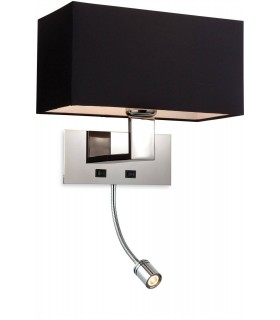 1 Light 2 Light Switched Indoor Wall Light Polished Stainless Steel, Black, E27
