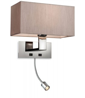1 Light 2 Light Switched Indoor Wall Light Polished Stainless Steel, Oyster