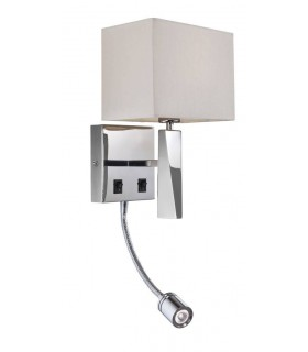 1 Light Switched 2 Light Indoor Wall Light Polished Stainless Steel, Cream, E14
