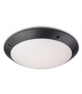 Outdoor Motion Ceiling Flush Light Black Polycarbonate, White Diffuser IP66, E27