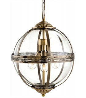 3 Light Spherical Ceiling Pendant Antique Brass, Clear Glass