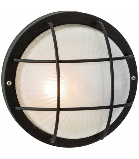 1 Light Outdoor Bulkhead Wall, Flush Light Black, Frosted Glass IP44, E27