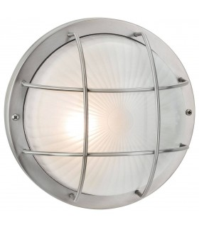 1 Light Outdoor Bulkhead Wall, Flush Light Stainless Steel, Frosted Glass IP44, E27