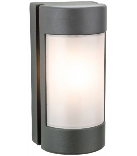 1 Light Outdoor Wall Light Graphite, Opal Polycarbonate Diffuser IP44, E27