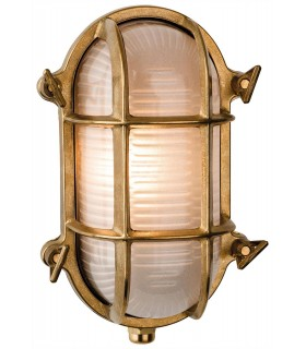 1 Light Outdoor Bulkhead Wall, Flush Light Brass, Frosted Glass IP64, E27