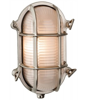 1 Light Outdoor Bulkhead Wall, Flush Light Nickel, Frosted Glass IP64, E27