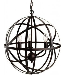 3 Light Spherical Ceiling Pendant Antique Brown, E14