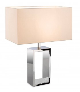 1 Light Table Lamp Polished Stainless Steel Cream Shade, E27