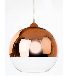 1 Light Globe Ceiling Pendant Copper and Clear Glass, E27