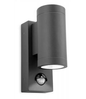 LED 2 Light Outdoor Up Down Wall, PIR Graphite IP65