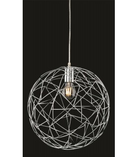 1 Light Spherical Wire Ceiling Pendant Chrome