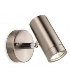 LED 1 Light Single Outdoor Wall Light Spotlight Stainless Steel IP44