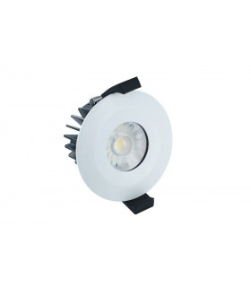 LED Low Profile IP65 Fire Rated Downlight Recessed Spotlight 6W 3000K 430lm Dimmable Matt White IP65
