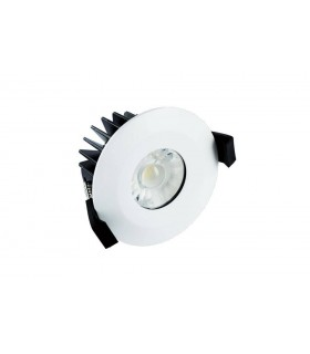 LED Low Profile IP65 Fire Rated Downlight Recessed Spotlight 10W 850lm 4000K Dimmable Matt White IP65