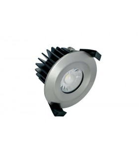 LED IP65 Fire Rated Downlight Recessed Spotlight 6W 4000K 440lm Dimmable bezel Satin Nickel IP65