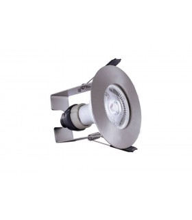 LED Fire Rated Static Downlight Recessed Spotlight Round Insulation Guard / GU10 Holder Satin Nickel IP65
