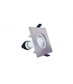 LED Fire Rated Static Downlight Recessed Spotlight Square GU10 Holder Satin Nickel IP65