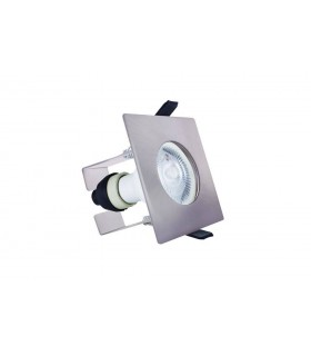 LED Fire Rated Static Downlight Recessed Spotlight Square GU10 Holder Bracket Satin Nickel IP65