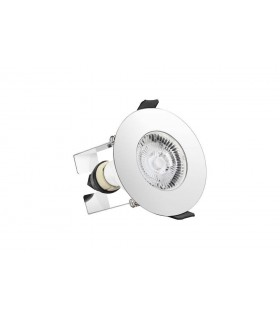 LED Round Fire Rated Downlight Round Polished Chrome Insulation Guard IP65, GU10