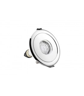 LED Fire Rated Static Downlight Adapter Round Polished Chrome IP65