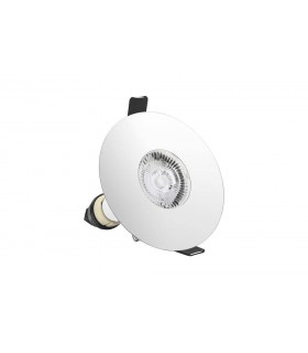 LED Round 70 100mm cut out Fire Rated Downlight Polished Chrome IP65, GU10