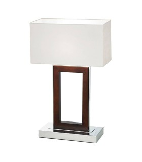 Table Lamp Dark Wood, Cream Faux Suede, E27
