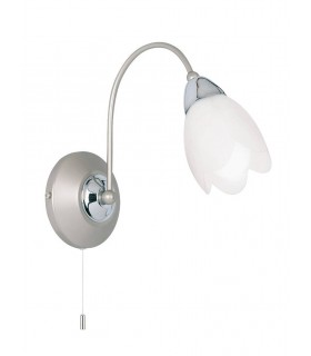 1 Light Wall Light Satin Chrome with Matt Opal Glass Shade, E14