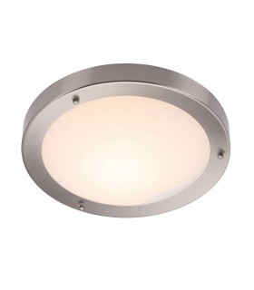 Bathroom Flush Ceiling Light Frosted Glass, Satin Nickel IP44, E27