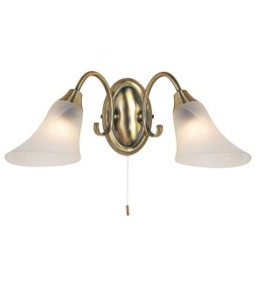2 Light Indoor Wall Light Antique Brass with Frosted Glass, E14