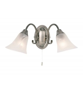 2 Light Indoor Wall Light Frosted Glass, Antique Silver, E14