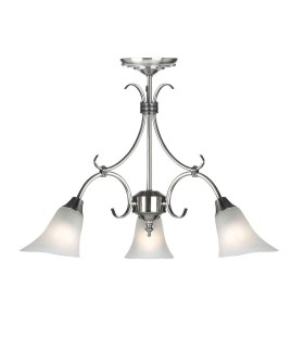 3 Light Multi Arm Ceiling Pendant Frosted Glass, Antique Silver
