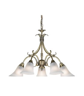 5 Light Multi Arm Ceiling Pendant Antique Brass, Frosted Glass