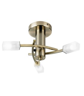 3 Light Semi Flush Multi Arm Ceiling Light Antique Brass, Acid Glass