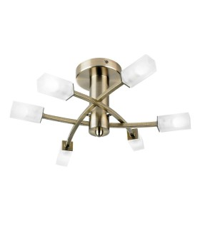 6 Light Semi Flush Multi Arm Ceiling Light Glass