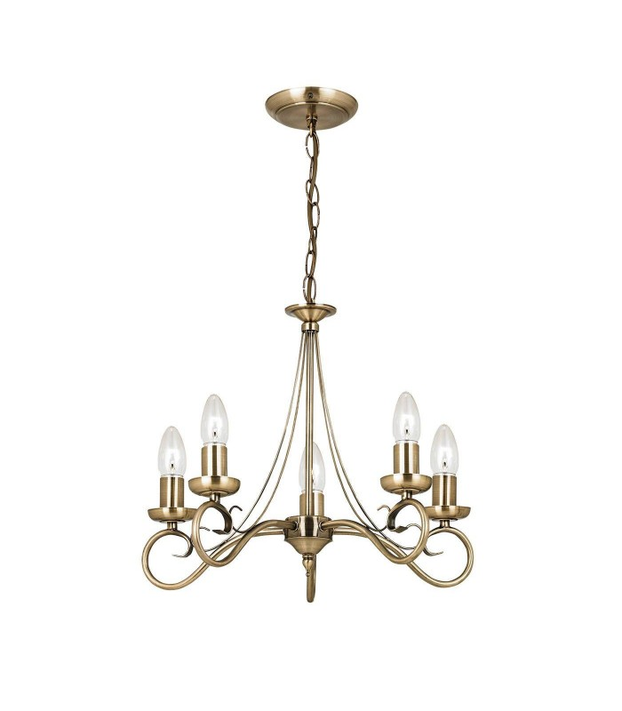 5 Light Ceiling Pendant Antique Brass