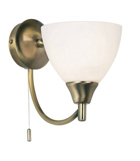1 Light Wall Light Antique Brass with Opal Glass Shade